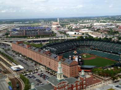 Aerial view of Camden Yards Sports Complex